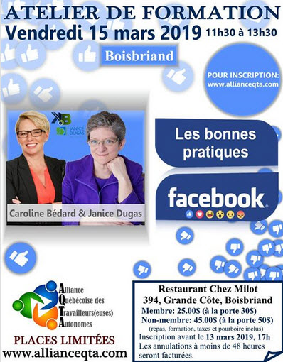 Facebook DO and DONT'S avec Janice Dugas et Caroline Bedard