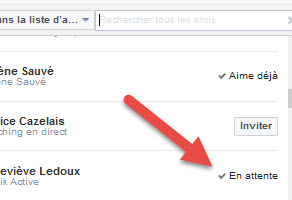 Invitation Facebook en Attente