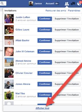 FB Invitations envoyees à supprimer