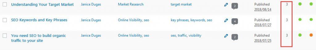 internal links wordpress blogs screen capture