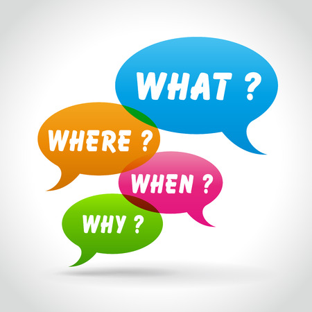 speech bubble questions what where when why social media